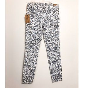 Madewell White and Blue Floral Jeans